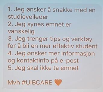 Eksempel på SMS til studentene.