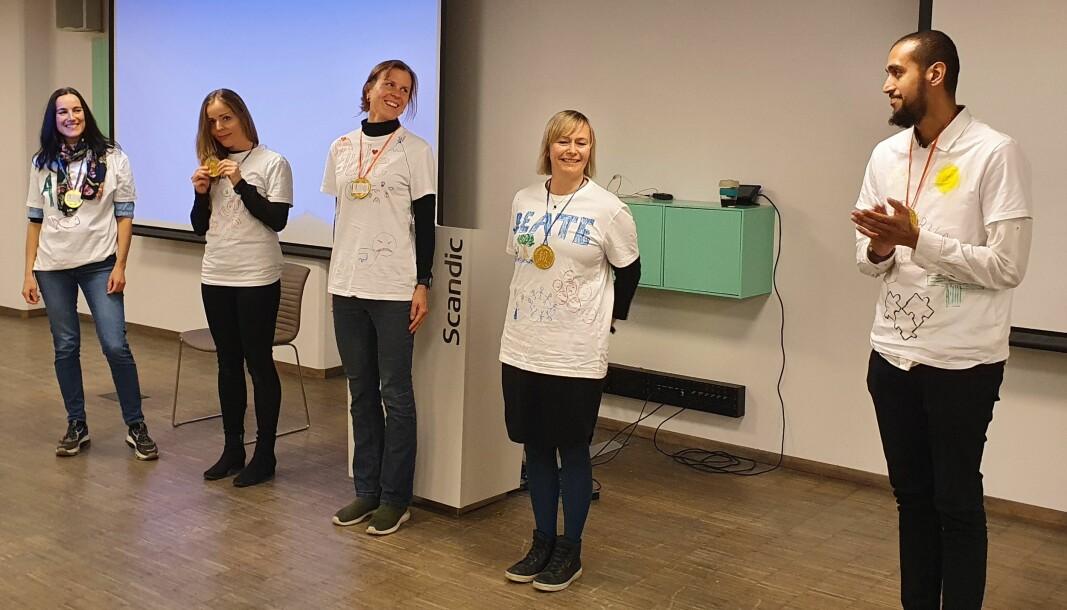 Vinnerlaget, #UiBCARE, fra venstre: Jannicke Lervik, Mette Optun, Julie Tønsaker, Beate Rensvik og Burhan Limdiawala