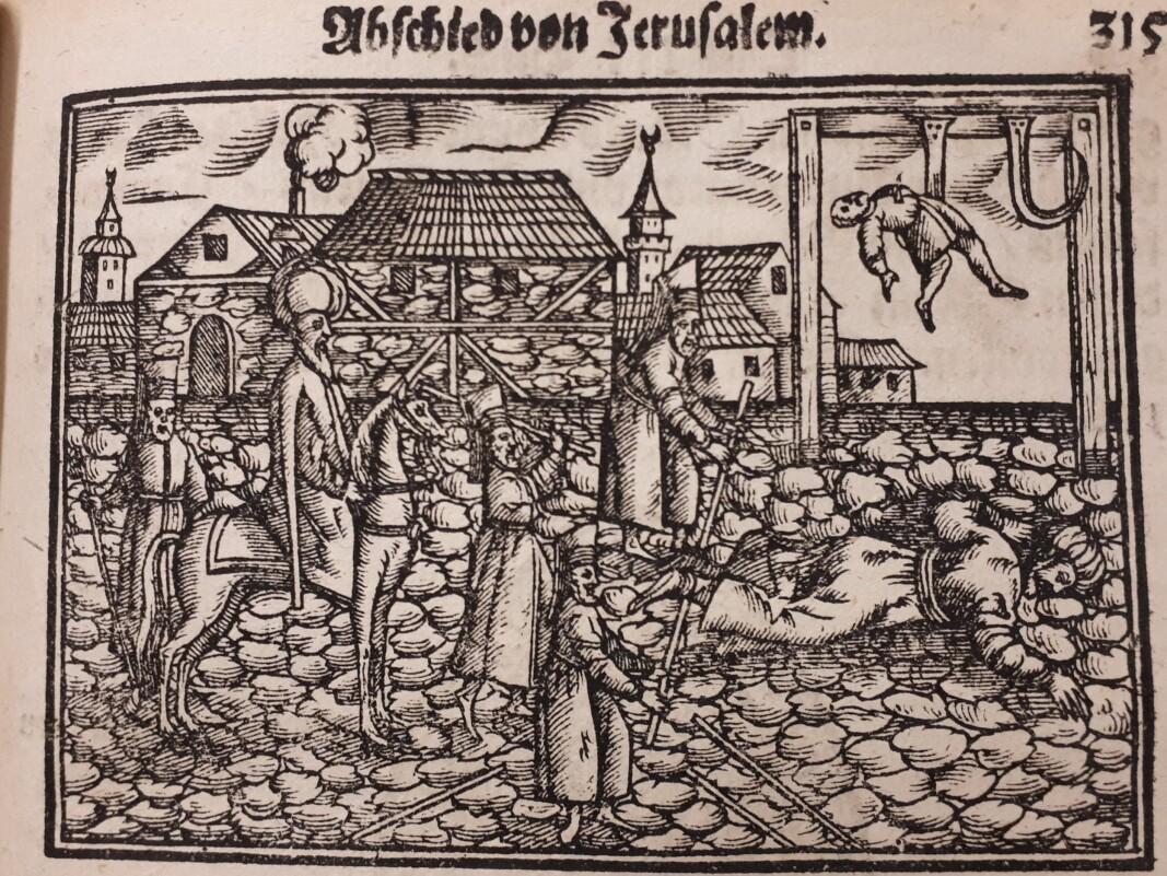 En av bøkene det var mulig å lese i Mariakirken var Salomon Schweiggers illustrerte reise til Konstantinopel og Jerusalem, opprinnelig utgitt i 1639.