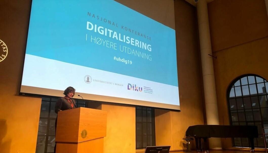Oddrun Samdal åpnet årets nasjonale digitaliseringskonferanse, slik hun gjorde i fjor.