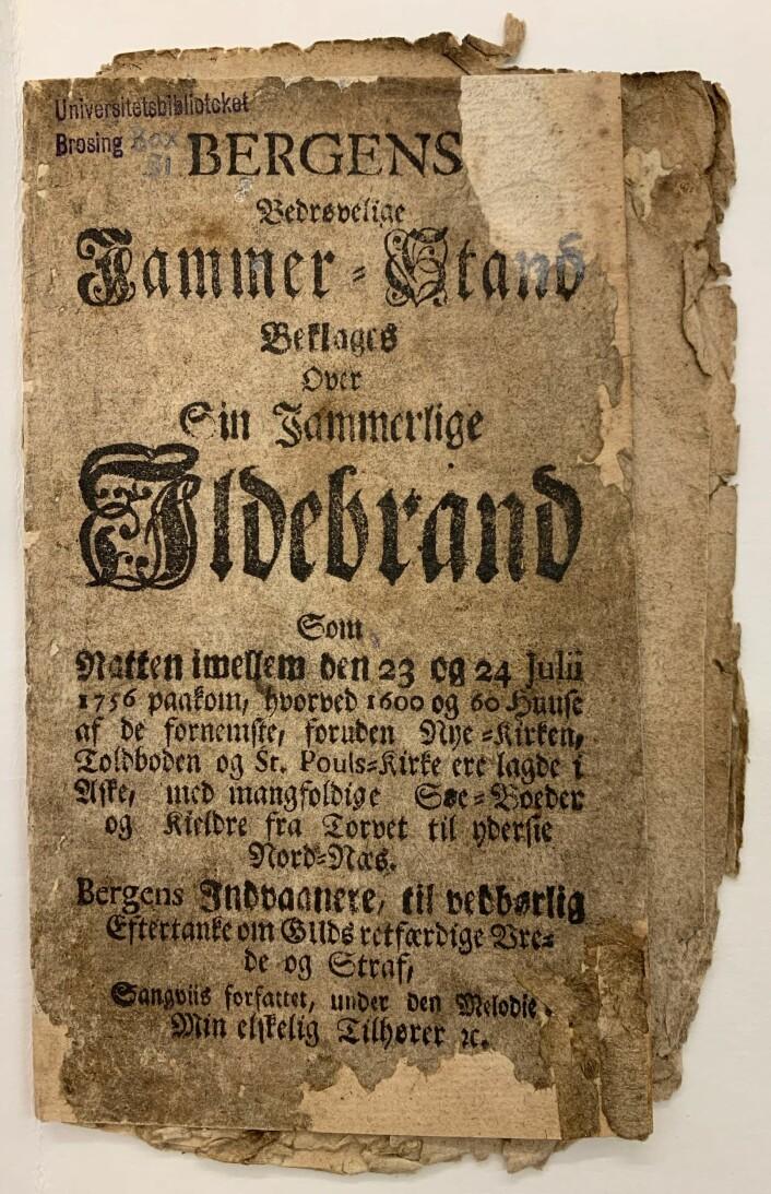 Skillingsvisen om bybrannen i Bergen i 1756. Denne visen ble senere også trykket og gitt ut i Trondhjem.