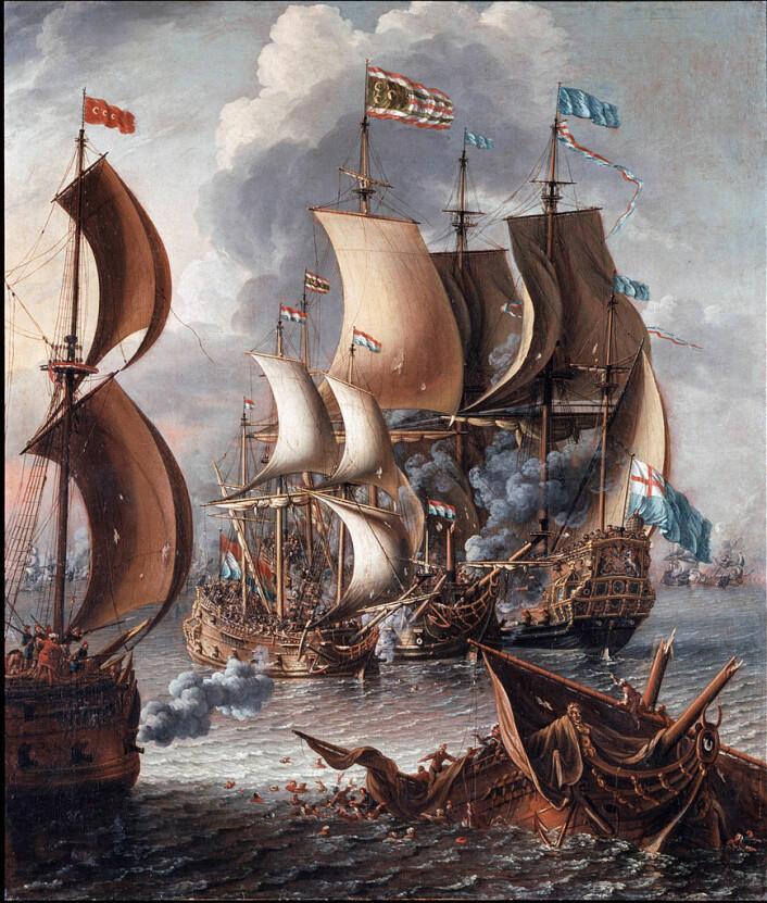 Illustrasjonen 'Sjøkrig med barbareske korsarar' av Lorenzo A. Castro (ca. 1664-ca. 1700).