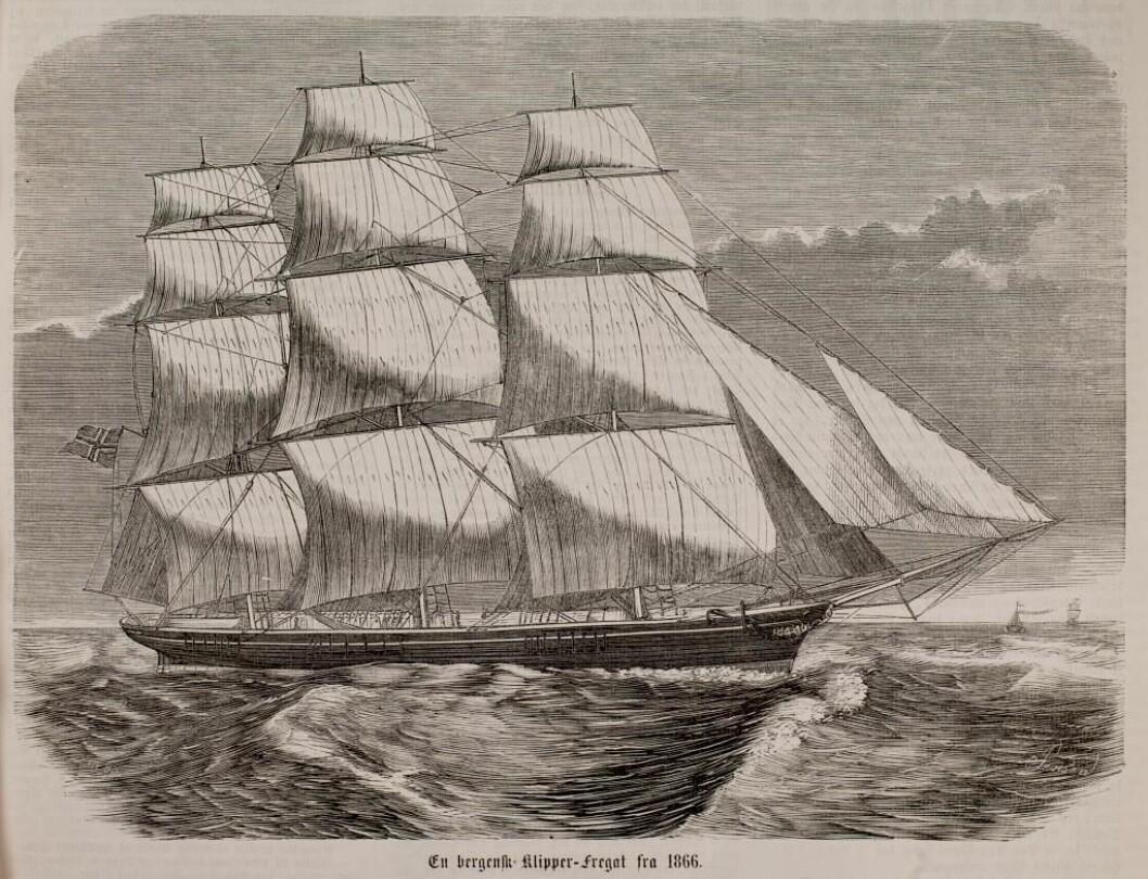 Eksempel på ein norsk fregatt, rett nok ein litt seinare type enn Hans Kiellands 'Ceres'.