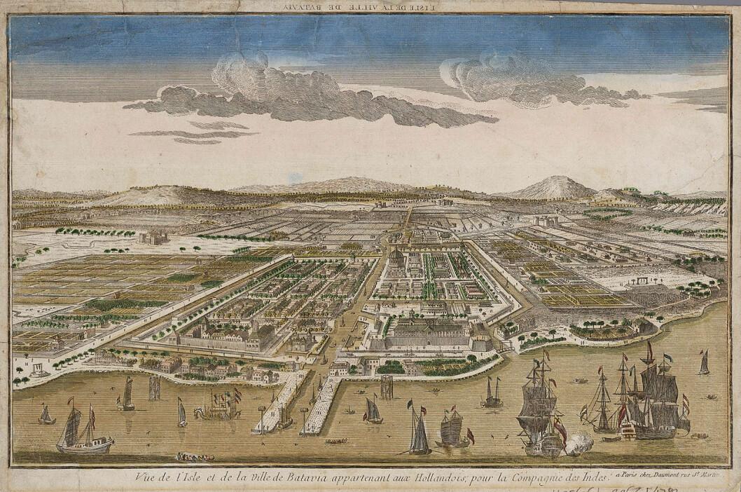 Samtidig prospekt av Batavia (no Jakarta) som då Hans Kielland besøkte byen.