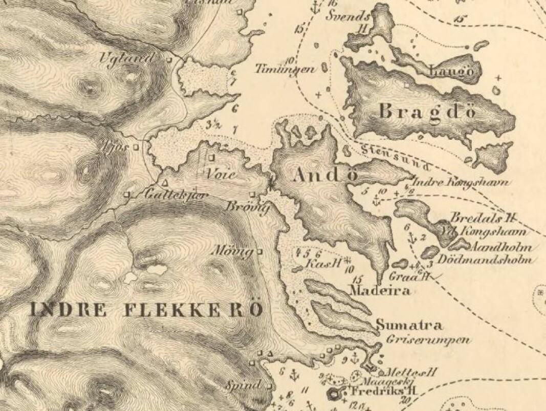 Utsnitt av oppmålingskart frå 1866 med namna Sumatra og Madeira innteikna.