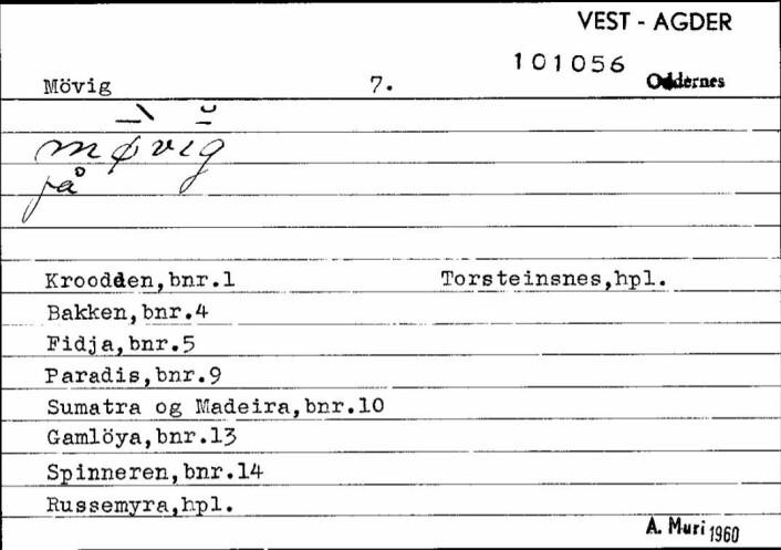 Seddel frå Bustadnamnregisteret i Språksamlingane med namna 'Paradis' (bruksnummer 9) samt 'Sumatra og Madeira' (bruksnummer 10).