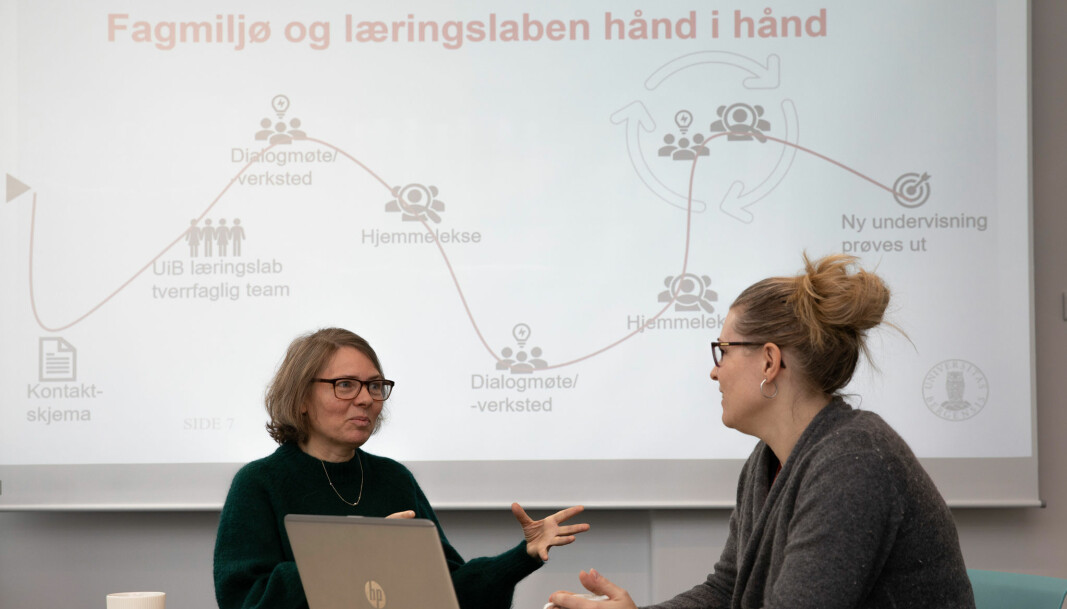 HAR FORNYET EX.PHIL. PÅ SV og HF: Vibeke Tellmann fra ex.phil. og Karianne Omdahl fra UiB læringslab har sett mye til hverandre det siste året – fysisk og digitalt.