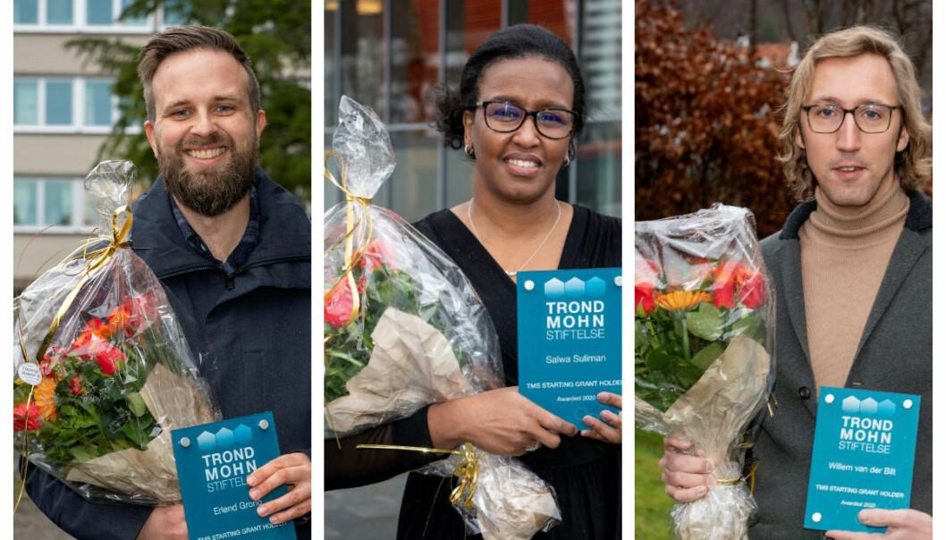 Som mottakere av TMS Starting Grant, kan (f.v.) Erlend Grong, Salwa Suliman og Willem van der Bilt nå bygge opp grupper rundt egen forskning, innen henholdsvis matematikk, stamcelleforskning og klimaforskning