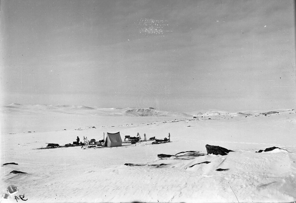 I felten, på jakt etter meininga med snø. Teltleir på Råstojaure, 2. mai 1912.