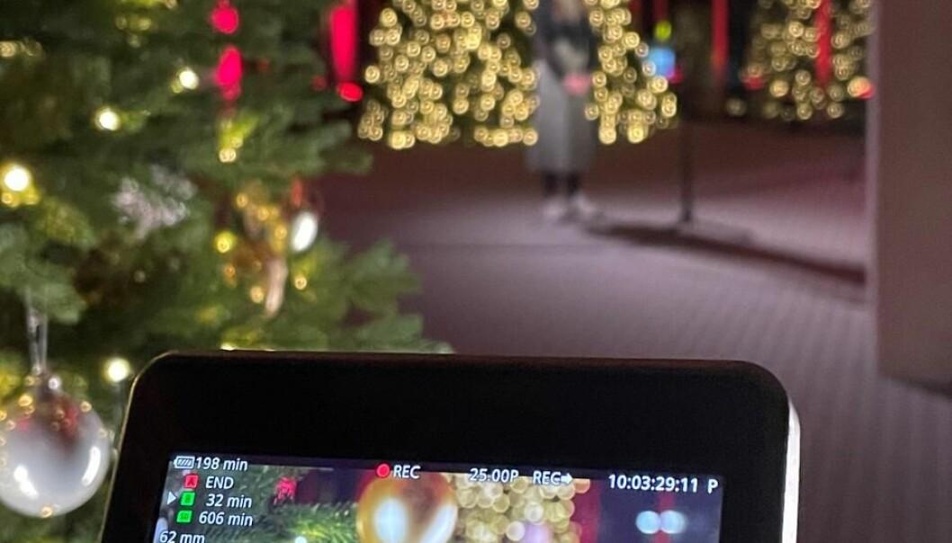 Innspilling av musikkvideo til UiBs juleavslutning.