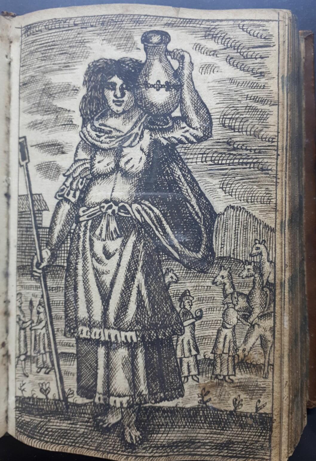 Rebekka, patriarken Isaks hustru, er her utstyrt med den sedvanlige vannkrukken.