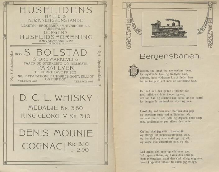 """Den kreative måten Jansen brukte for å finansiere utgivelsen av en diktsamling: Annonser på en side, dikt på den andre. Fra """"Bergen 1814-1914""""."""