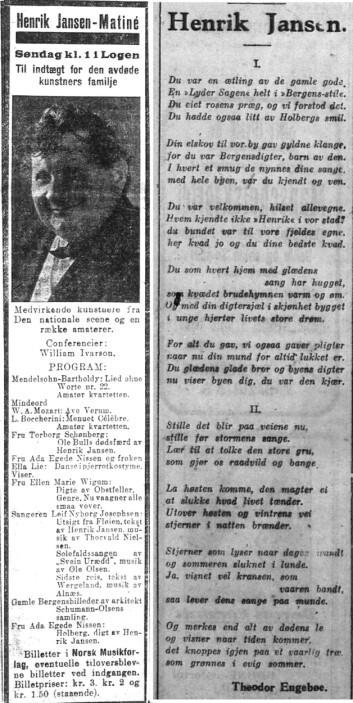 Reklame for Minne-matinéen og minneord på vers. Begge stod på trykk i Bergens Tidende, lørdag 29.09.1923.