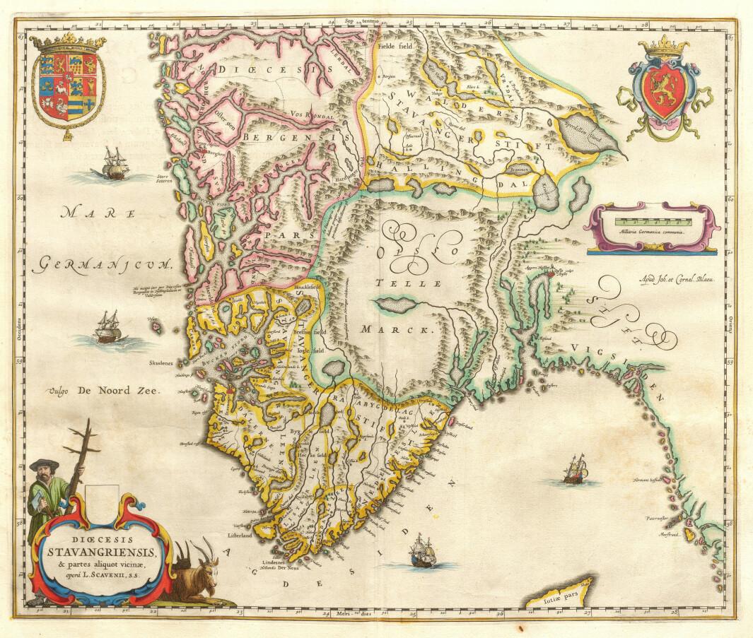 """Dioececis Stavangriensis & partes aliquot vicinæ, opera L. Scavenii, s.s."". Den hollandske kartografen Joan Blaeu sin versjon av kartet til biskop Scavenius, her i utgåva frå storverket Atlas Major frå 1662."