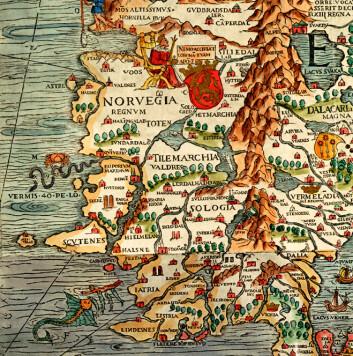 Utsnitt av det spektakulære Carta Marina frå 1539, teikna av den svenske katolske presten Olaus Magnus (1490-1557). Kartet blei trykt som tresnitt på ni kartblad, totalt 170 x 125 cm, og finst i dag i to originaleksemplar, i Uppsala og i München.