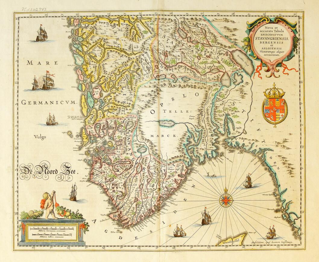 «Nova et accurata tabula episcopatvvm Stavangeriensis, Bergensis et Asloiensis vicinarumque aliquot territoriorum» av den hollandske kartografen Johannes Janssonius, som kopierte Scavenius-kartet alt i 1636. Her i ei utgåve frå 1658.