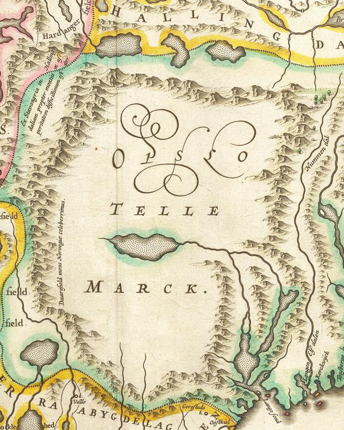 Utsnitt av Blaeu-versjonen av Scavenius-kartet, med det fråverande Telemark som ein kvit flekk.