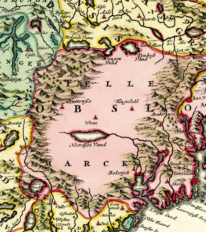 Skildringa av Telemark som terra incognita blei ein gjengangar til langt utpå 1700-talet. Utsnitt frå «Norvegia Regnum : Divisum in suos Dioeceses Nidrosiensem, Bergensem, Opsloensem, et Stavangriensem et Praefecturam Bahusiae» av den hollandske kartografen Frederick de Wit, truleg utgitt kring 1730.