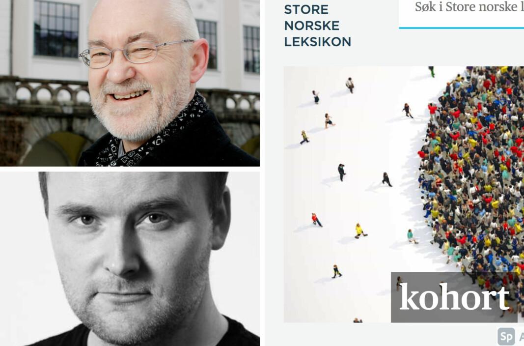 "PANDEMIORD: Artikkelen ""kohort"" ble lest 80.000 ganger i fjor. Sigmund Grønmo og Eirik Holmøyvik er fagansvarlige i SNL."