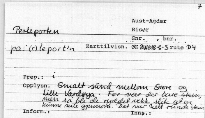 Setel frå Norsk Stadnamnarkiv i Språksamlingane med namnet 'Perleporten' samt forklaring af lokaliteten.