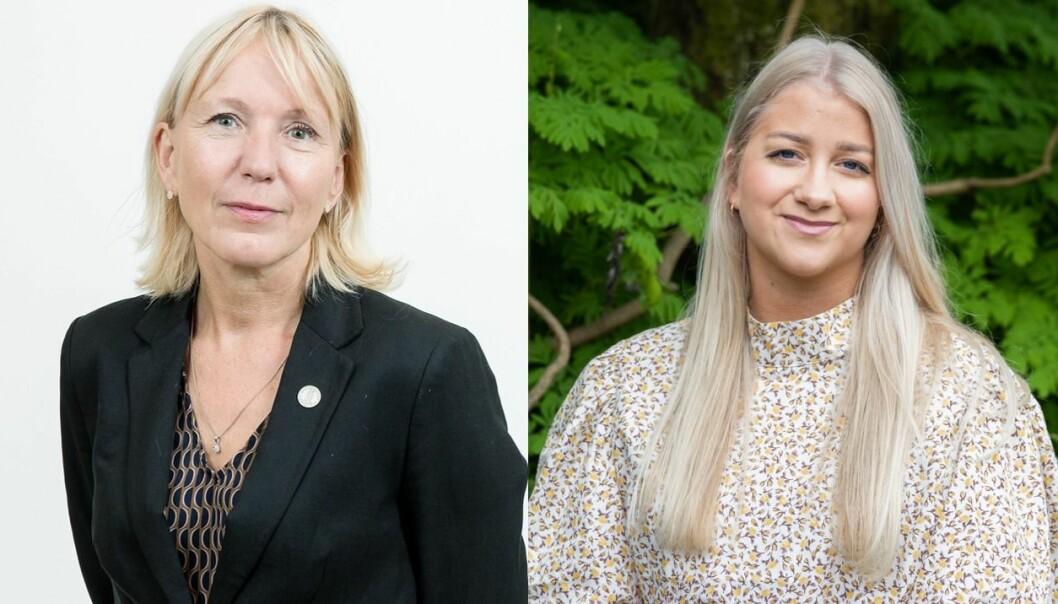 Rektor Margareth Hagen og leder av Studentparlamentet Sandra Amalie Lid Krumsvik er glade for tildelingen.