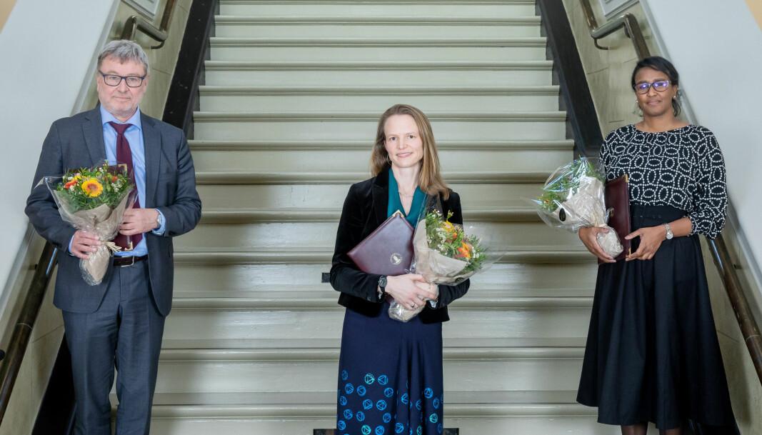 Erik Bjerck Hagen, Laura Saetveit Miles og Salwa Suliman fikk årets Meltzerpriser.
