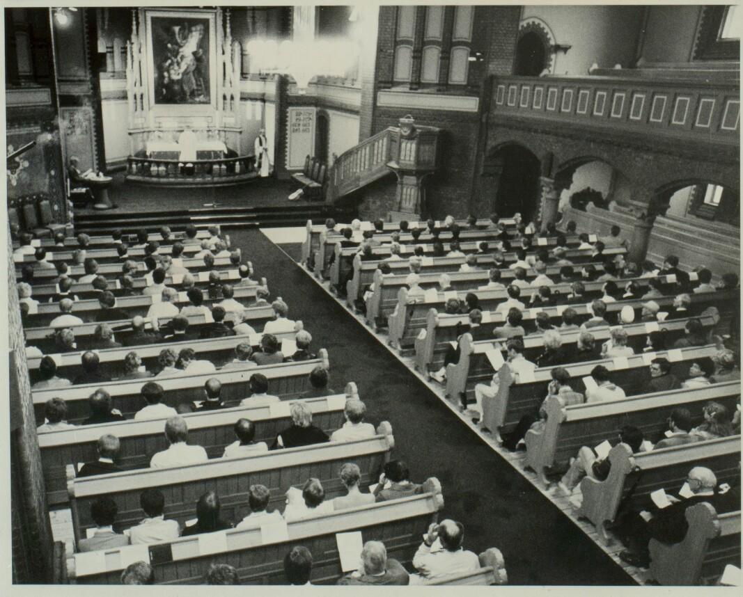 Den første solidaritetsgudstjenesten, avholdt i Sagene kirke i 1982. Denne skulle bli den første av mange solidaritetsgudstjenester.