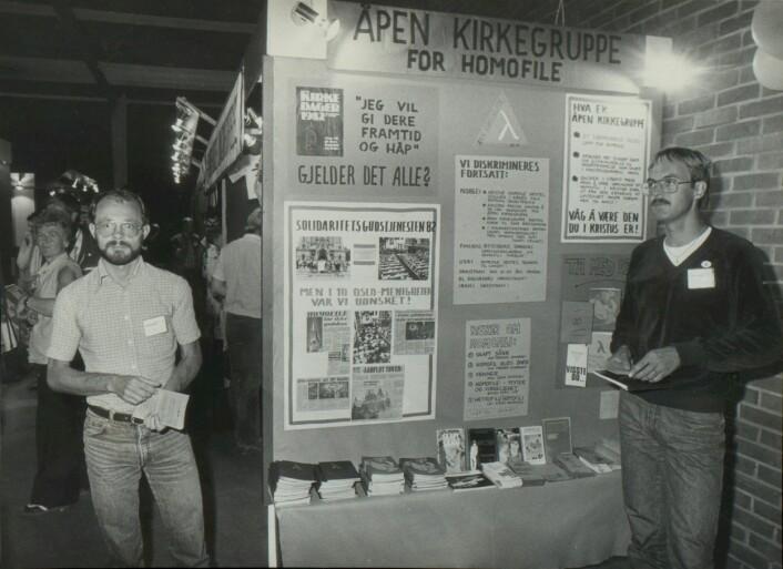 Jens T. Olsen og Stein Rusnes under kirkedagene i Trondheim i 1982.