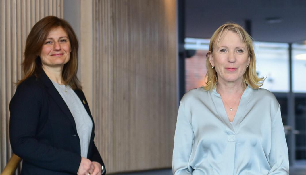 Pinar Heggernes (prorektorkandidat) og Margareth Hagen (rektorkandidat).