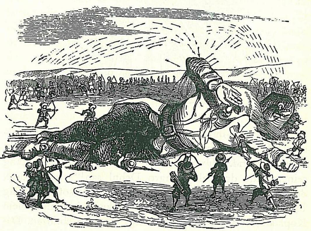 En av illustrasjonene for Gullivers reise til Lilliput forberedt av den berømte karikaturtegner J.J. Grandeville for 1840 utgaven av Swifts mesterverk.