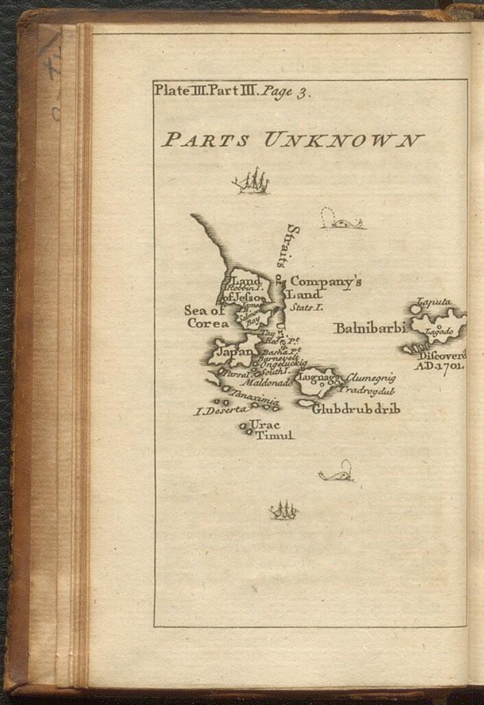 Kart over Laputa fra 1751 utgave av Gullivers reiser.
