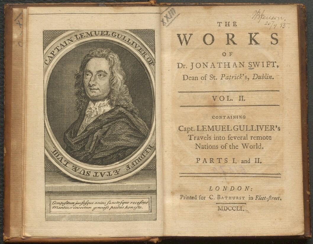 Tittelblad av Gullivers reiser fra 1751.