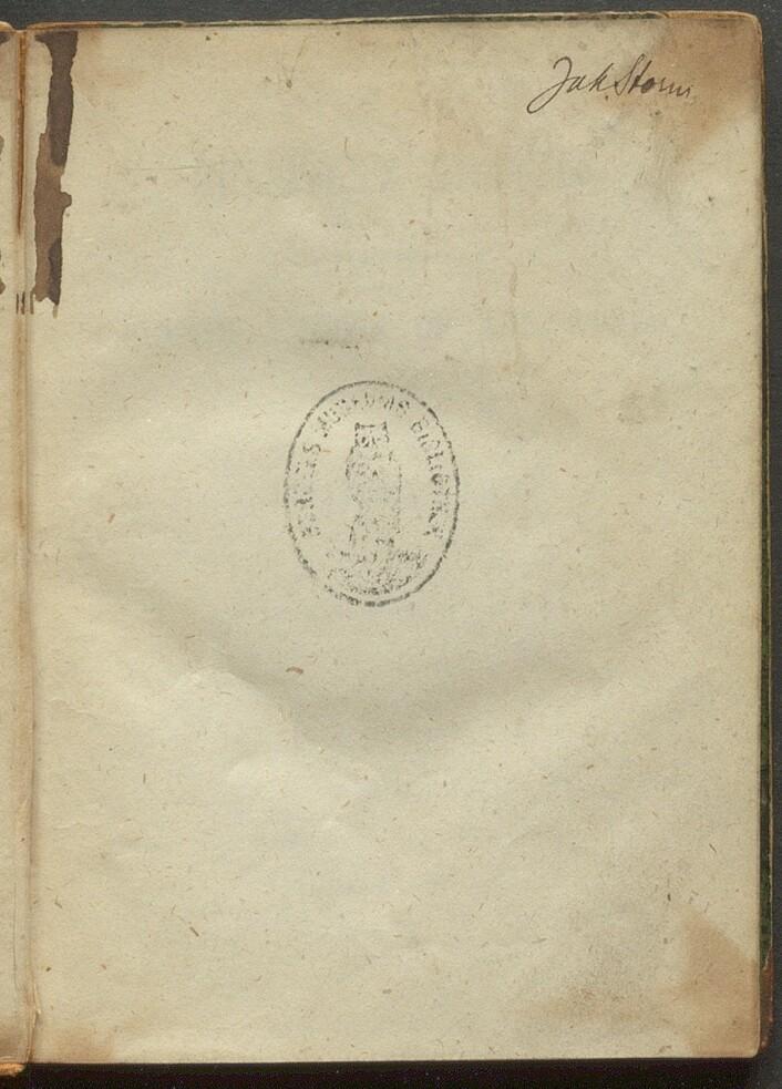 """Signaturen til Johann Storm, eieren til Tauchnitz """"Gullivers reiser""""."""