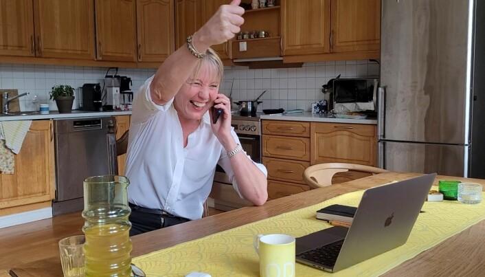 Augeblinken då Margareth Hagen fekk vite at ho vann rektorvalet.