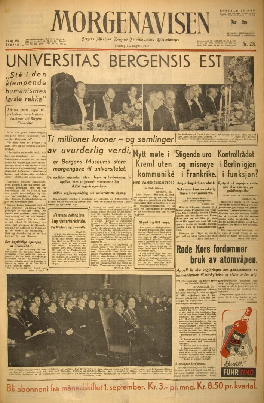 """""""Universitas Bergensis Est"""" på overskriften av Morgenavisen den 31. august 1946."""