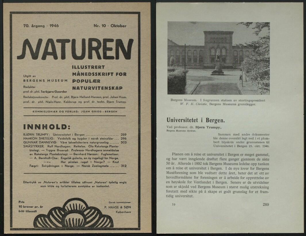 Om etableringen av Universitetet i Bergen i tidsskriftet Naturen.