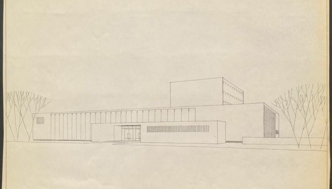 Den arkitekturalske tegningen som vant konkurransen for det nye UBs bygget i 1956,