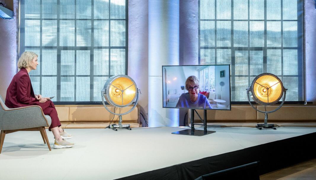 Temaet for Christiekonferansen 2021 var den nye økonomien. Her intervjues korrupsjonsjeger og æresdoktor ved UiB Eva Joly av programleder Guri Solberg.
