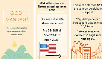 Gladnyhet fra USA på bærekraftspilotenes Instagram-story.