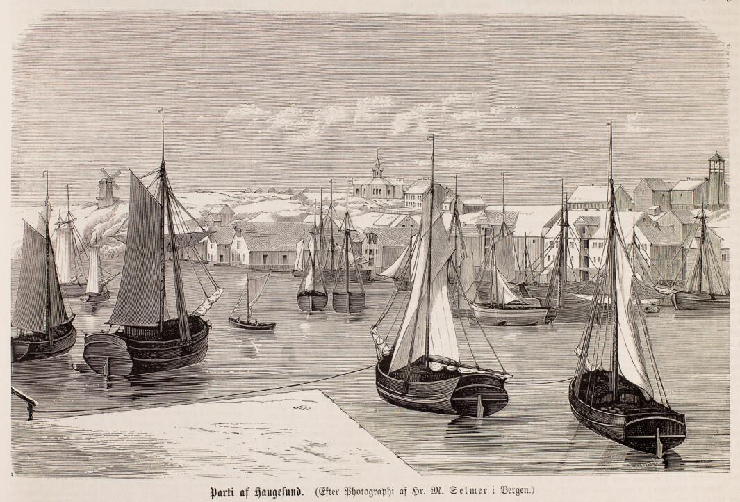 """""""Part af Haugesund"""". Xylografi etter Marcus Selmer fotografi. Publisert i Illustreret Nyhedsblad, 1865 (UBB-BS-OK-14039)."""
