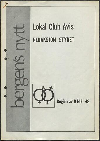 Lokal Club Avis. Den første utgaven av Bergensnytt, 1972.