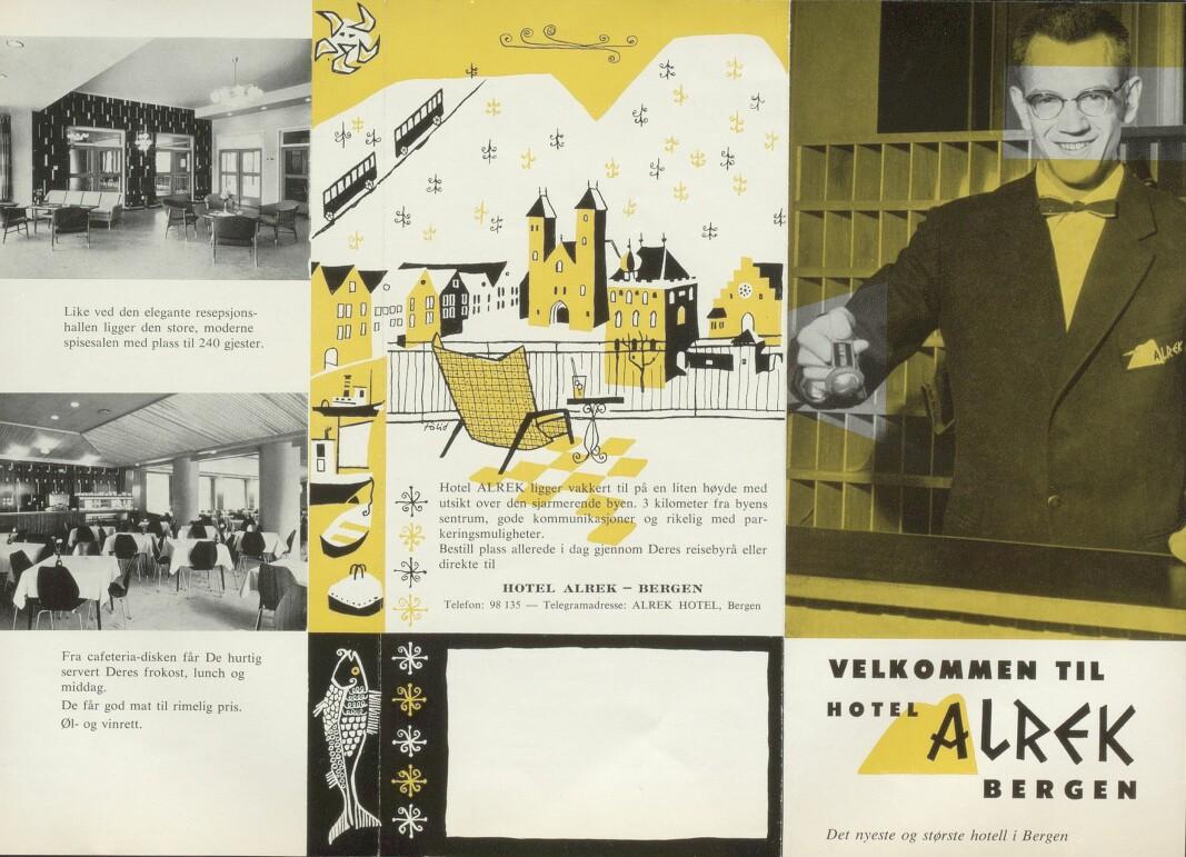 Alrek fungerte som hotell i sommermånedene, og på reklamen som ble trykket opp ble det poengtert at hjemmet hadde en elegant resepsjon, en flott mathall, rimelige priser og en gunstig plassering i forhold til Bergen by. Kilde: Ms 2177 Alrek Studenthjem.
