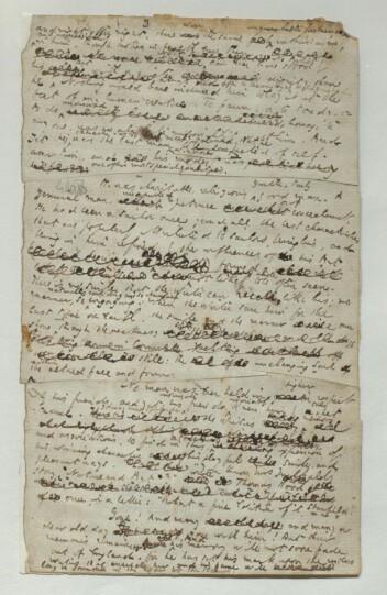 Et av Dickens' tekstmanuskripter, her ser vi den levende prosessen ved forfatterskapet. Fra minnetalen over Clarkson Stanfield.