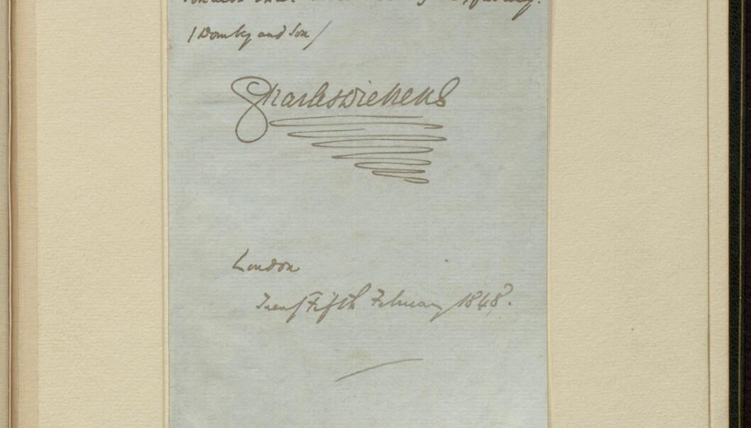 Dickens' karakteristiske signatur som avslutter brevet datert 25. februar 1848.