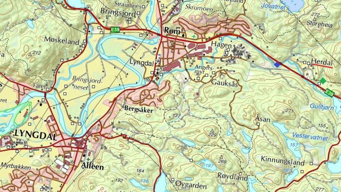 Oversiktskart for Lyngdal og auststover. Herdal er ytst til høgre med raud understreking. Den grøne firkanten markerer Raunesteinslia, og den blå firkanten staden der Slaget ligg.