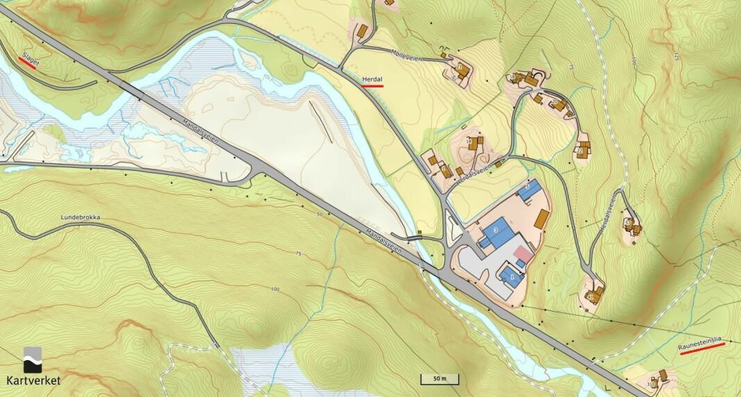 Detaljekart for Herdal. I midten ligg Herdal, med Raunesteinslia nedst i det høgre hjørnet og Slaget i det øvste venstre hjørnet.