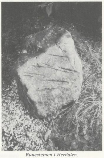 Den såkalla runesteinen frå Raunesteinslia. © Oddleif Lian, Lyngdal 3, 1986.