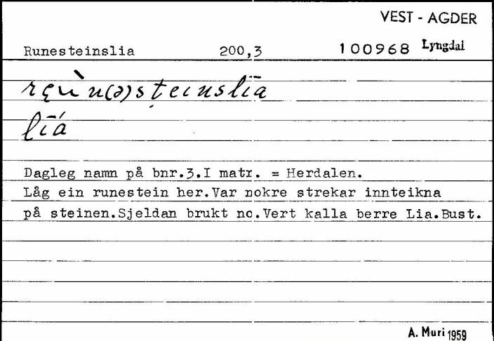 Setel på Raunesteinslia fra Bustadnamnregisteret.
