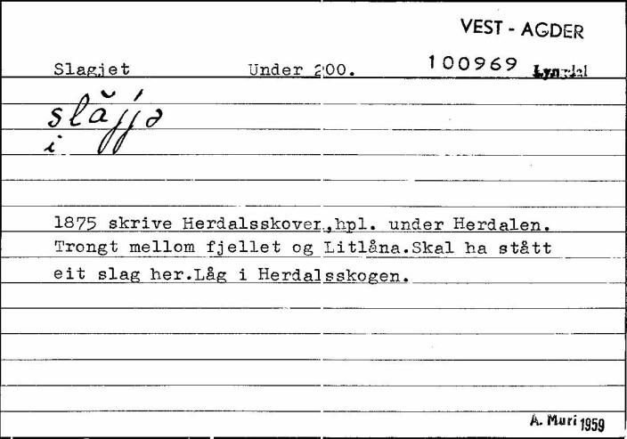Setel på Slaget fra Bustadnamnregisteret.