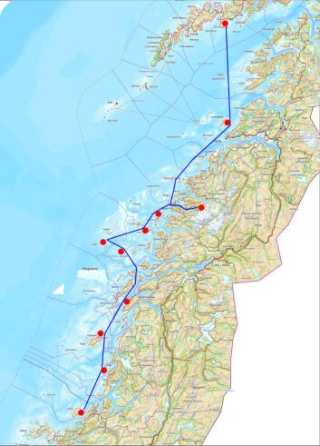 Leka-Vågakallen, en rute gjennom Helgelandskysten illustrert med bilder fra Billedsamlingen.
